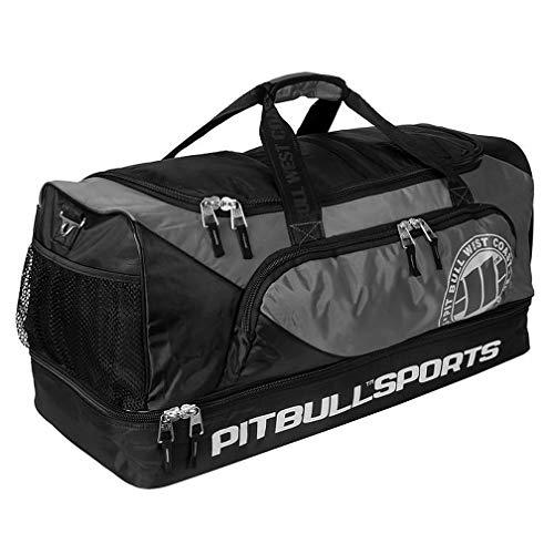 Pit Bull West Coast Sporttasche Big Duffle Bag Schwarz/Grau - Funktionelle Trainingstasche Gym Tasche für Kampfsport Fitness Boxen Muay Thai