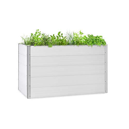 blumfeldt Nova Grow Gartenbeet,150 x 91 x 100 cm (BxHxT),Material: WPC mit UV-, Rost- und Frostschutz,Holzoptik,rückenschonende Höhe,einfacher Zusammenbau,weiß