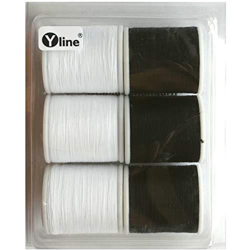6 spoelen BW bovengaren: 3 stuks à 100 m wit & 3 stuks à 100 m zwart, naaigaren Ne 50/3, naaimachines garen, 3129