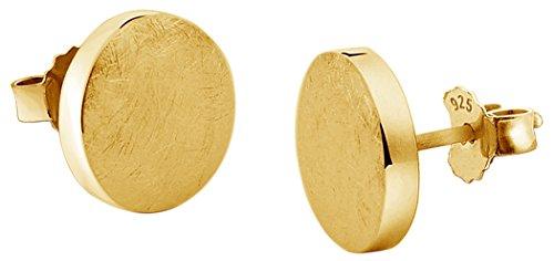 Nenalina Silber Damen-Ohrringe Ohrstecker vergoldet flach rund gebürstet 8 mm für Frauen und Mädchen, 925 Sterling Silber, Ohrstecker für Damen, Kreis Ohrstecker gold, 324403-500