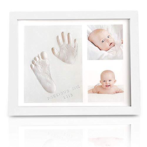 JRing Set de Marco Para Manos y Huellas de bebé para niño y niña - marcos de arcilla y madera - No tóxico - Ideal decoración o regalo de baby shower