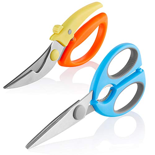 2 Pack-Scissors Stainless Steel Heavy Duty Kitchen Sharp Scissors Multi-Purpose Poultry Shears with Soft Grip Handles