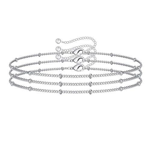 Dainty Layered Bracelets for Women, White Gold...