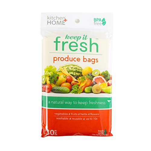 Keep it Fresh Produce Bags – BPA Free Reusable Freshness Green Bags Food Saver Storage for Fruits, Vegetables and Flowers – Set of 30 Gallon Size Bags