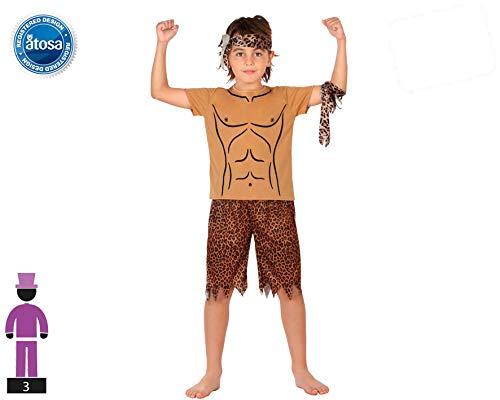 Atosa-28443 Animal De La Selva Disfraz Hombre De La Jungla, color marrón, 5 a 6 años (28443)
