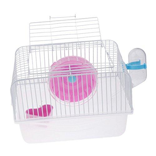 Sharplace Tragbar Hamsterkäfig Mäusekäfig Nagerkäfig mit Trinkflasche und Futterschüssel für Hamster, Ratten, Mäuse, Igel, Meerschweinchen - Rot