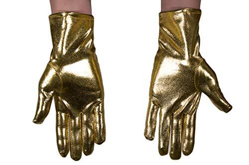 dressmeup - K0802G-GOLD Guantes Mujeres Hombres Carnaval Halloween Look metálico Brillante Dorado Robot Scifi