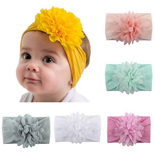 Mom & Beauty Lot 5 Bandeaux Cheveux Elastiques Bébé Fille 5 Couleurs Fleurs (Nouveau né à Deux Ans)(Couleur2)