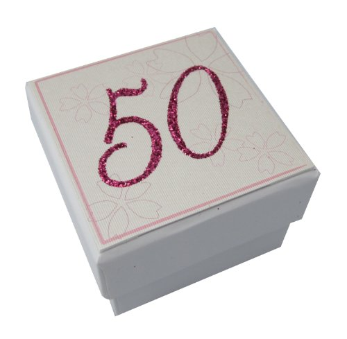 White Cotton Cards 2,5 cm x 2,5 cm -Age 50 Mini-Box, wit