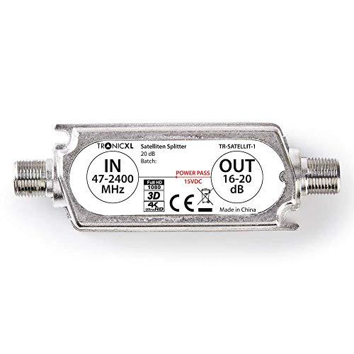 TronicXL Profi 20dB DVBS2 DVB-S2 Satelliten-Leitungsverstärker Inline Breitband SAT Verstärker TV PreAmp Inlineverstärker
