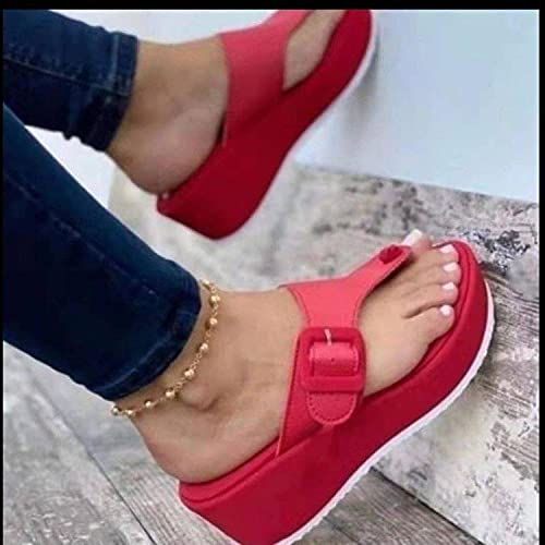 ypyrhh Chanclas para Adulto Mujeres,Tamaño Grande 趾 Zapatillas,cuña de Moda con Fondo Grueso-Rojo_40,Chanclas Mujer