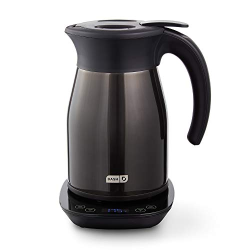 DASH Insulated Electric Kettle, Cordless 1.7L Easy Boil Hot Water Kettle - Black Stainless Steel, 57oz/1.7L