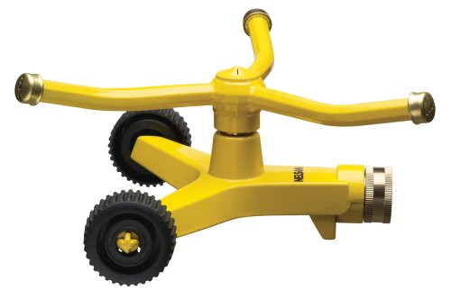nelson sprinklers Nelson Three-Arm Square Pattern Spray Whirling Sprinkler with Metal Wheel Base 50231