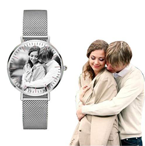 Acero Inoxidable Personalizado para Hombres/Mujeres Reloj de Pulsera de Pareja de Cuarzo analógico Delgado Regalo de Padre