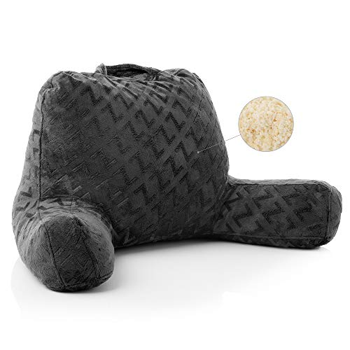MALOUF Z Foam Filled Reading Pillow with Super-Soft Velour Cover-3-year U.S. Warranty, Grey