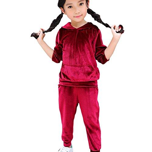 Bekleidung Longra Kinder Baby Mädchen Jogginganzug Trainingsanzug mit Velvet Kapuze Sweatshirts Hoodie Kapuzenpullover + Lang Hosen Kleider Set Kindermode Sportanzug(1-5Jahre) (115CM 5Jahre, Wine)