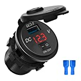 USB Car Charger Quick Charge 3.0 DEALPEAK Waterproof Cigarette Lighter USB Charger with On Off Switch Voltage Display Compatible with Most of Smartphones Marine Boat Motorcycle Truck RV (Color : Red)