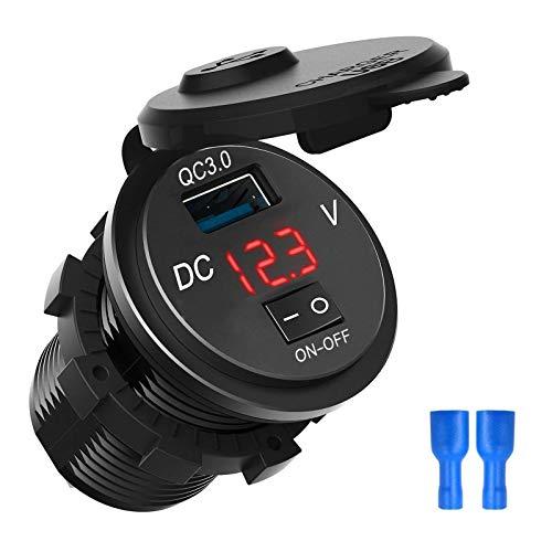 Tabpole Cargador USB del coche QC 3.0 del zócalo del coche de la motocicleta del barco del coche del zócalo del voltaje con el interruptor