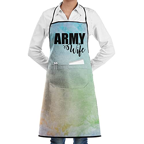 Army Wife Aprons for Cooking Baking, Cute Birthday Gifts for Mom Wife Husband Girlfriend Aunt Grandma