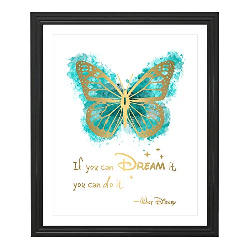 Eleville 8X10 If you can dream it you can do it Real Gold Foil Butterfly Watercolor Art Print (Unframed) Quotes Print Home decor Motivational Birthday Wedding Gift WG113