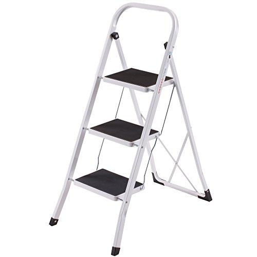 VonHaus Heavy Duty Steel Folding Portable 3 Wide Step Ladder with Gripped Tread Anti-Slip