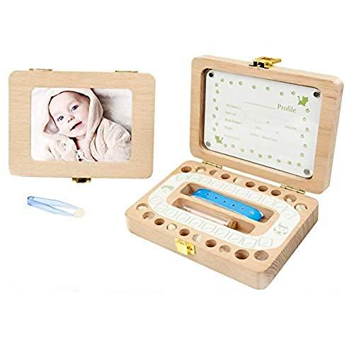 KINJOHI Milchzähne Zähne box, KINJOHI Zahnbox Holz Milchzähne Box, Zahndose Milchzahndose Zahndöschen für Kinder