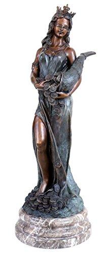 Kunst & Ambiente - Bronzefigur - Glücksgöttin Fortuna mit Füllhorn - Griechische Statue - Skulptur - Césaro - Schicksalsgöttin - Antike