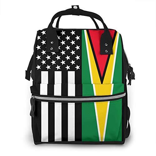 Bolsa de pañales con bandera de Guyana de Estados Unidos, impermeable, multifunción, bolsas de pañales de maternidad, bolsas de pañales de gran capacidad para mamá, papá, viajes, cuidado del bebé