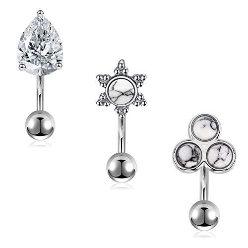 LAURITAMI 3er Rook Piercing 1,2mm 6mm Ohrringe Ohrstecker Chirurgenstahl Curved Barbell Ohr Daith Piercing Silber mit Stein