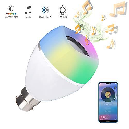 B22 - Bombilla LED de música con altavoz, RGB + luz blanca que cambia de color, altavoz de audio integrado con mando a distancia para el hogar, dormitorio, sala de estar, decoración de fiestas