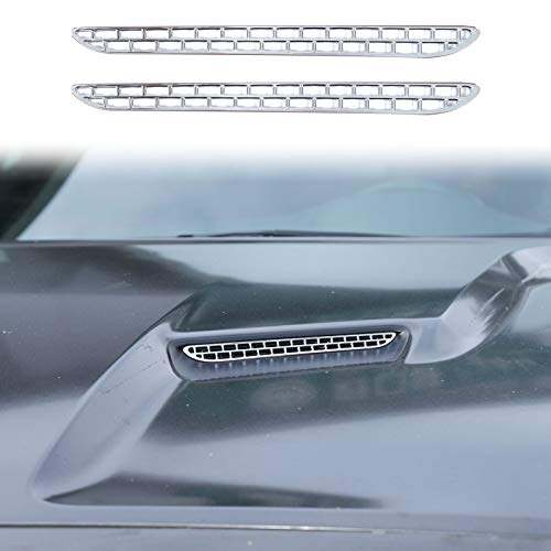 Voodonala Hood Air Conditioner Air Outlet Grille Inserts for 2015-2020 Dodge Challenger, ABS Chrome 2pcs