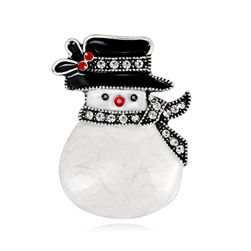 YAVONA Cartoon White Crystal Snowman Brooches pins for Women Brooches Decorations Jewelry (Vintage Silver)