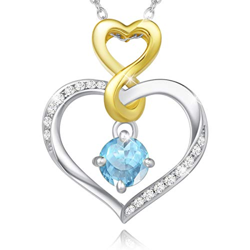 Agvana March Birthstone Heart Necklaces for Women Sterling Silver Created Aquamarine CZ Infinity Heart Pendant Necklace Anniversary Birthday Gifts Fine Jewelry for Girls Her Wife Daughter Mom Yourself