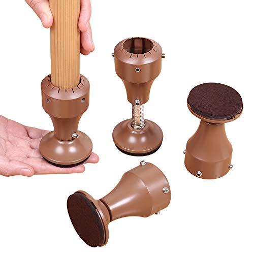 Ezprotekt Verstellbarer Möbelerhöhung aus Karbonstahl, Drehbare Möbelsteigleitungen Fügt 7-10 cm Höhe zu Stühlen und Möbeln Unterstützt 200 kg, 4Pack Braun
