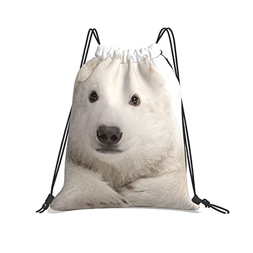 Polar orso bambino coulisse zaino borsa sport palestra escursionismo yoga nuoto viaggio spiaggia zaino per le donne uomini - bianco - taglia unica