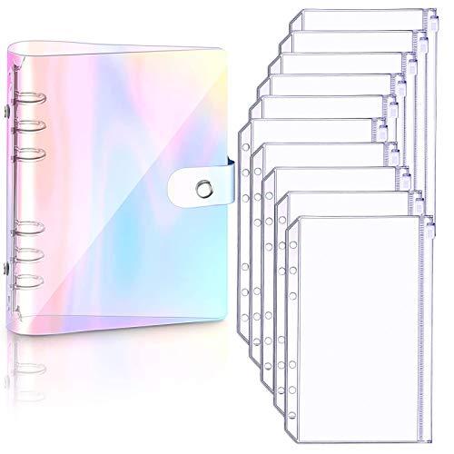 A5 Notizbuchhülle aus weichem PVC und 10 Stück A5 Notizbücher für lose Blätter, lose Blätter, persönlicher Planer, Binder, wasserdicht, Regenbogenfarben