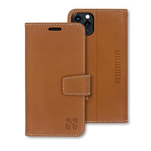 SafeSleeve EMF Protection Anti Radiation iPhone Case: iPhone 11 Pro Max RFID EMF Blocking Wallet Cell Phone Case (Genuine Leather)