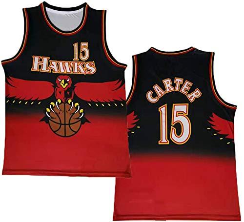 ZMIN Baloncesto para Hombre NBA Jersey Carter # 15 Atlanta Hawks Uniforme de Baloncesto Deportes al Aire Libre Camiseta sin Mangas,Rojo,M