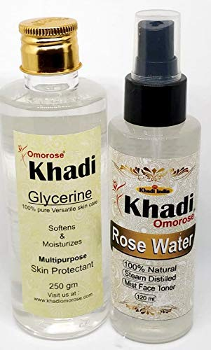 Khadi Omorose Glycerine 250 gram & Rose Water 120 ml Combo (Pure & Natural)