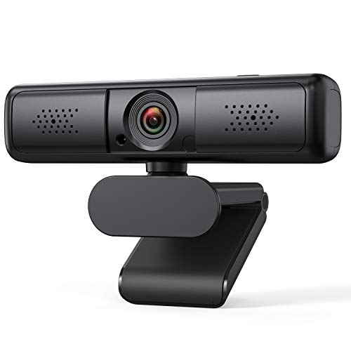 Webcam with Microphone, 2K QHD Zoomable Streaming USB Computer Webcam with Auto Light Correction and Privacy Protection for Desktop & Laptop, Web Camera for Video Conferencing, Teaching, and Streaming