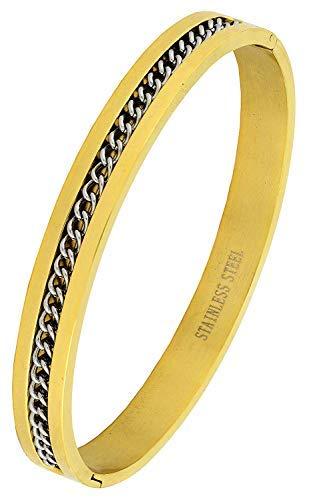 SataanReaper presenta el brazalete de acero inoxidable quirúrgico de oro de 18 quilates que se puede abrir y pulsera Kada para hombres #SR-2482