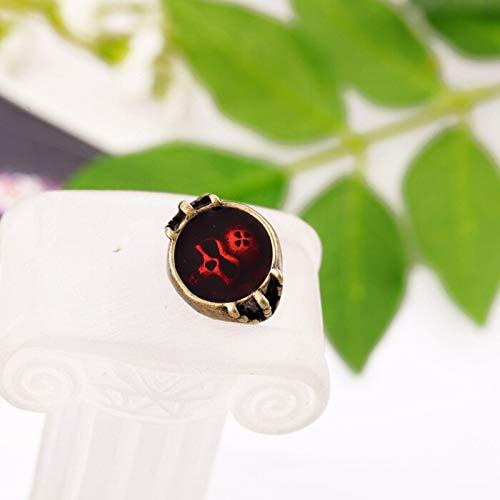 RVXZV Accesorios de Moda Red Oil Embedded Personalidad de Las Mujeres Vintage Ring Accessories Glitter Jewelry