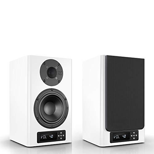 Nubert nuPro A-200 Regallautsprecherpaar | Lautsprecher für Stereo & Musik | Schreibtischlautsprecher für Homeoffice | aktive Regalboxen mit 2 Wege Technik | Kompaktlautsprecherset Weiß | 2 Stück
