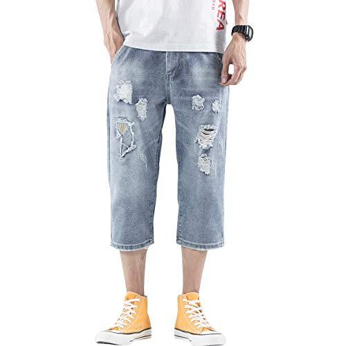Pantalones Cortos de Mezclilla para Hombre Pantalones Cortos de Mezclilla Rasgados con Personalidad Recta Suelta Retro de Verano Jeans Casuales Simples y versátiles 34