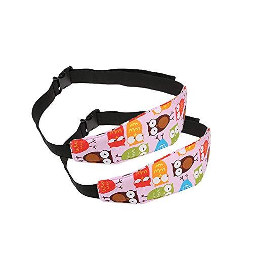 G-Tree 2 pièces de fixation Bande de bébé Kid Head Holder support Owl Imprimer Dormant ceinture voiture Seat sommeil Nap Holder ceinture de sécurité poussette bébé Porte-ceinture de sécurité (ROSE)