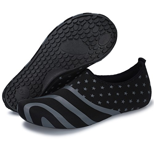Barerun Men's and Women's Quick-Dry Water Shoes Outdoor Barefoot Aqua Socks for Beach Swimming Surfing Yoga Exercise Black 10-11 US Men