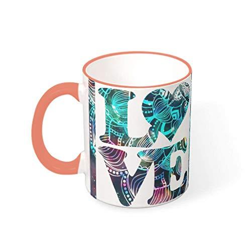 O3XEQ-8 Liebe Herz Getränke Cappuccino Becher Tasse mit Griff Glatte Keramik Personal Becher - Valentinstag Dekor Frauen Geschenk, für Kinder verwenden 11 Unze Persimmon 330ml