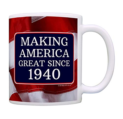 Image of the 80th Birthday Gifts For All Making American Great Since 1940 Birthday Gift Coffee Mug Tea Cup USA Flag