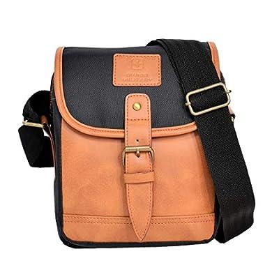 Swiss Military Polyester 17 cms Black & Beige Messenger Bag (SLB1)