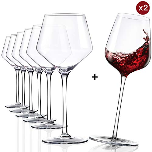 Red Wine Glasses-Genuine Lead Free Finest Crystal,Buy 6 Get 2 Funny wine Glasses, Hand Crafted Burgundy Glasses-Clear, Durable,the Best of the Tasting,16 OZ,Set of 8
